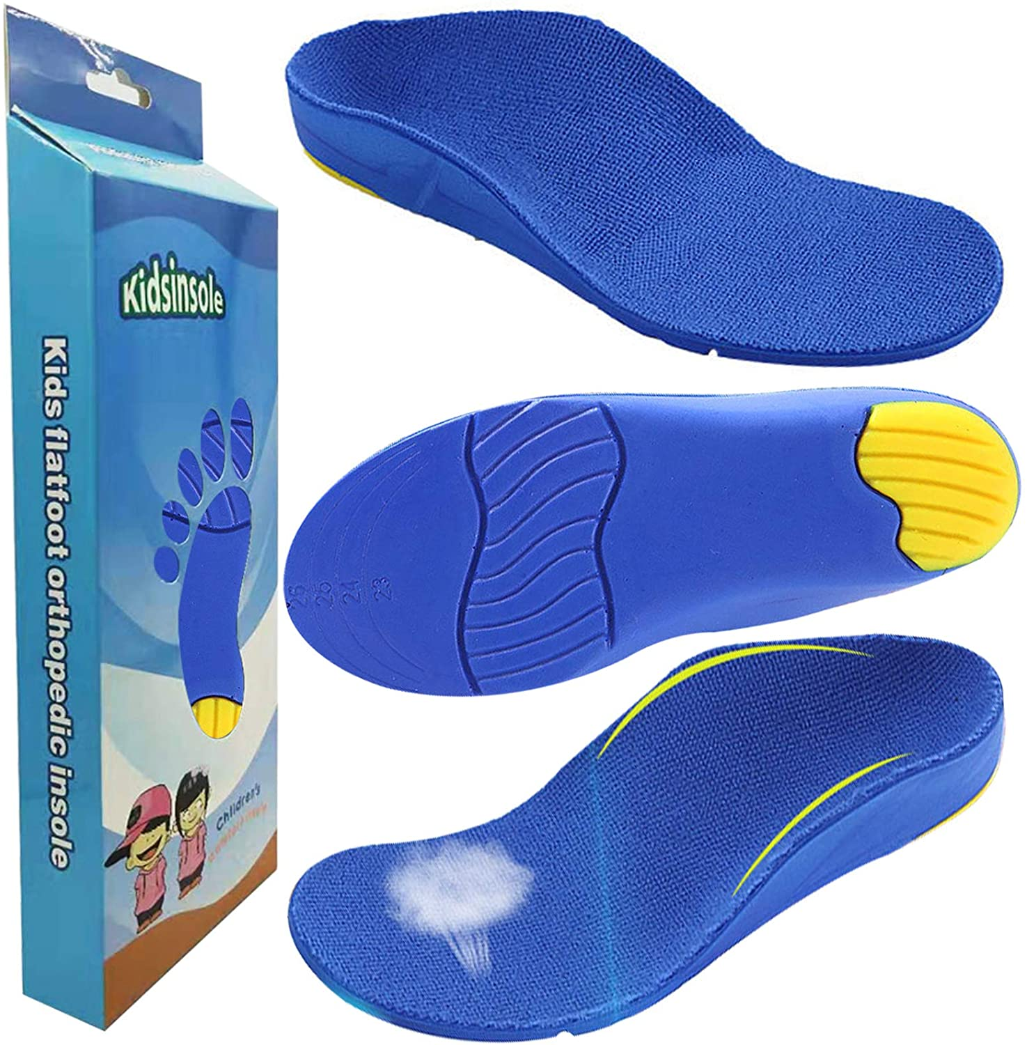 Bacophy Kids Arch Support Flat Feet Orthotic Inserts, Children PU Foam Cushioning Insoles for Plantar Fasciitis, Feet Heel Pain Relief
