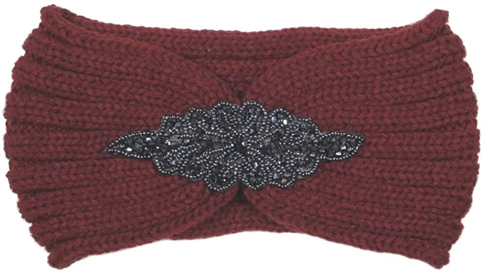 Me Plus Women's Winter Sequin Flower Knitted Headband Ear Warmern