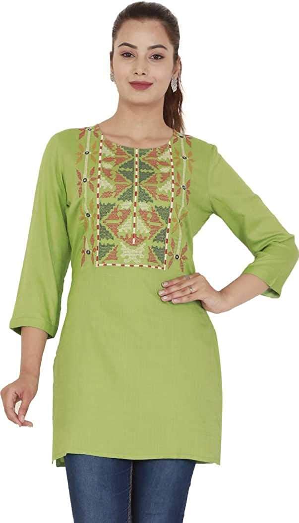 DREAMANGEL FASHION Womens Cotton Embroidered Straight Fancy Kurti