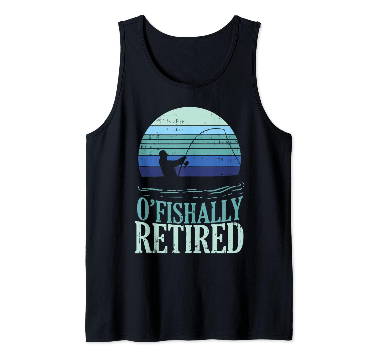 Ofishally Retired Fishing Retro Retirement Dad Men Gift Tank Top