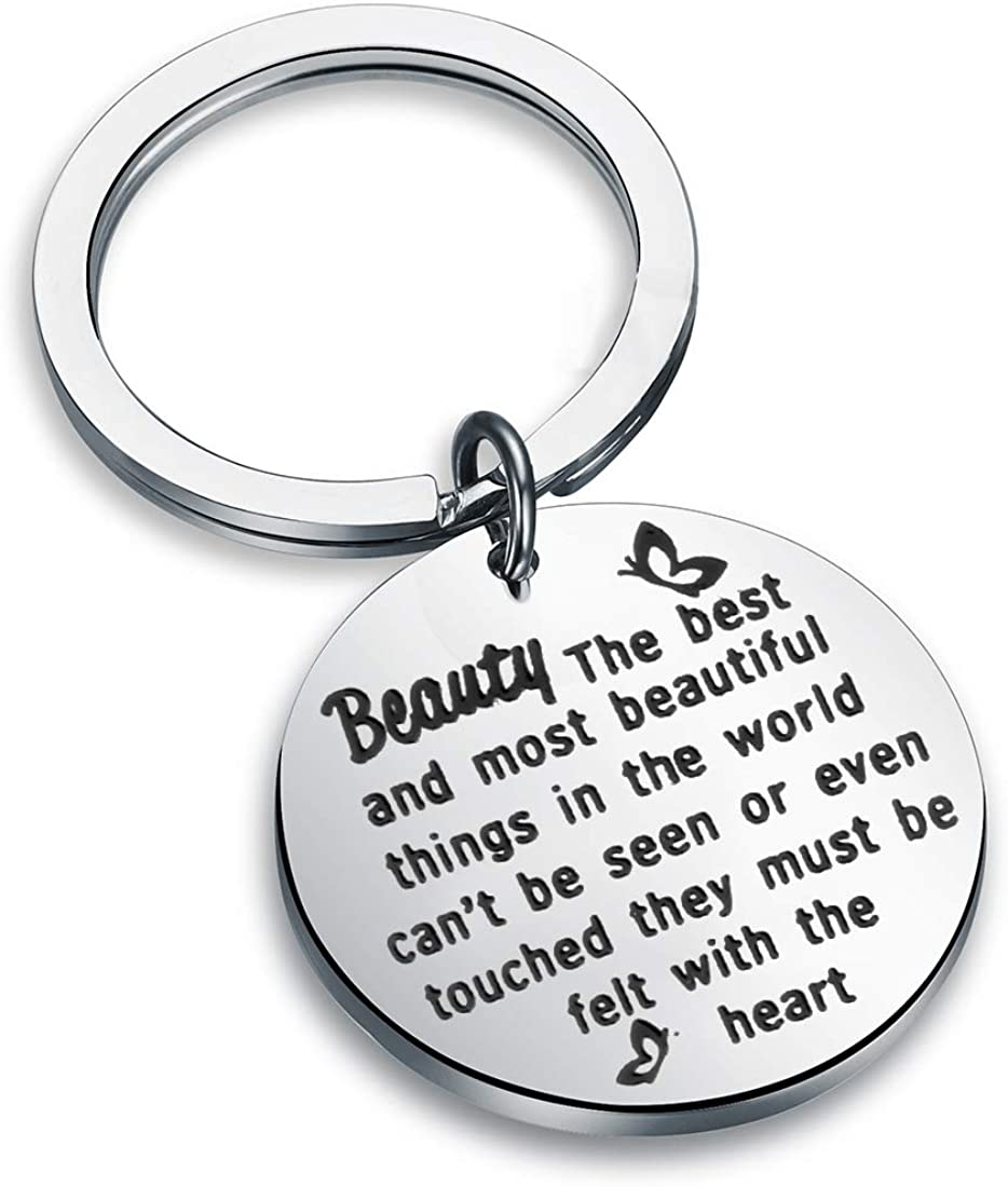 Helen Keller Quote Keychain The Best and Most Beautiful Things in The World Key Ring BFF Encouragement Gift