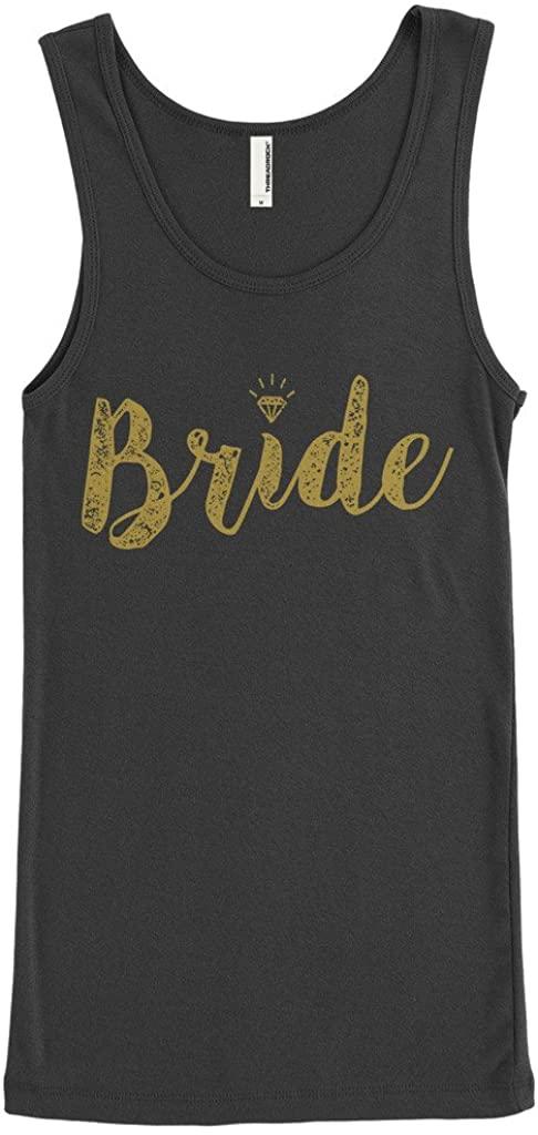 Threadrock Womens Bride Gold Script Junior Fit Tank Top