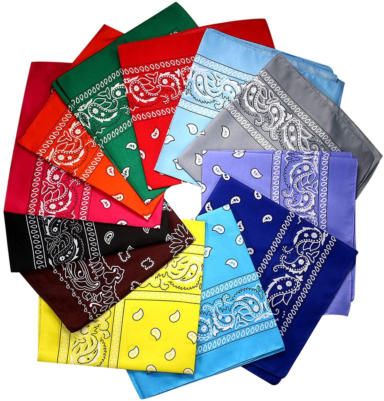 JewelryWe 12PCS Multi-Purpose Headwear Bandanas Outdoor Sports Square Scarf for Men Women