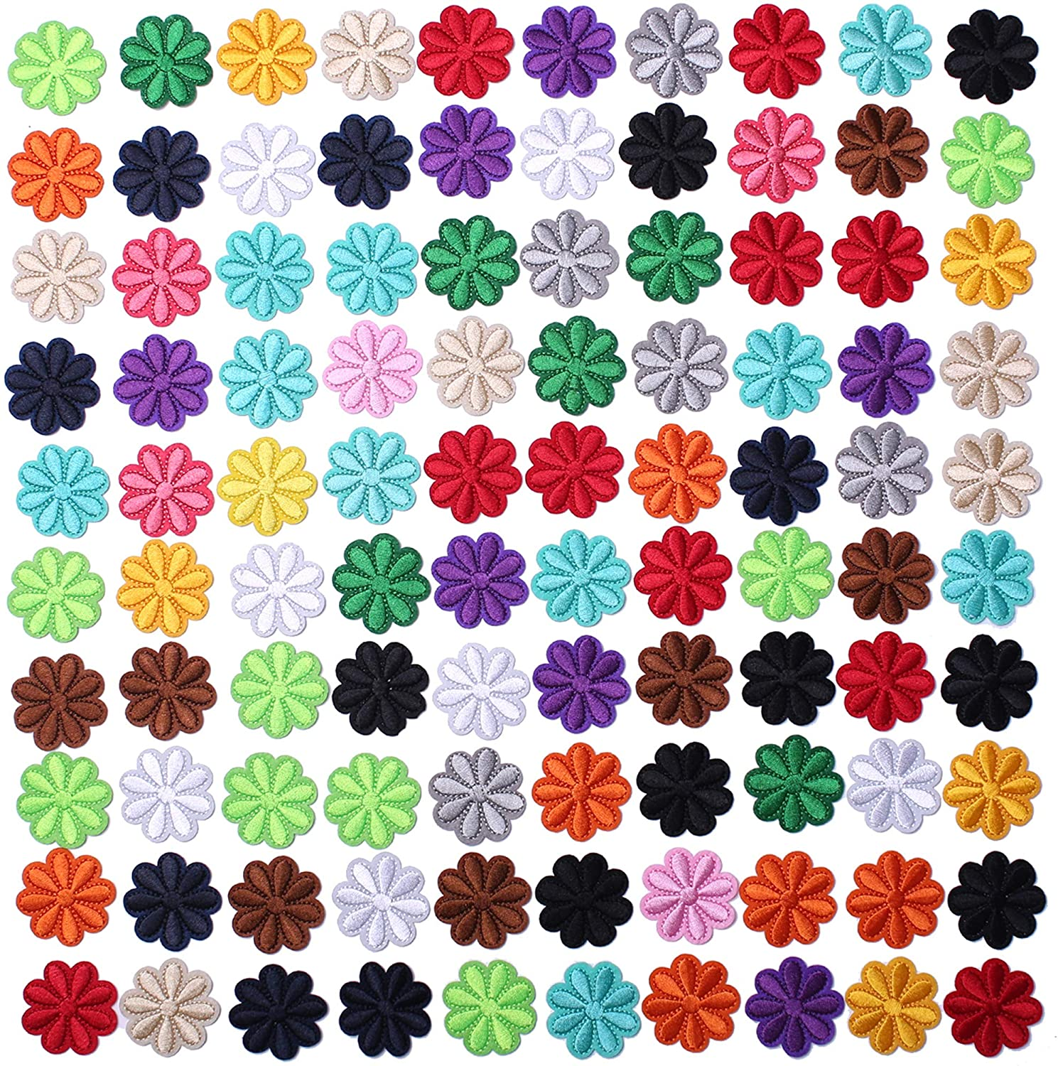 SHELCUPCool Embroidered Iron Patches, for Jackets, Packs, Jeans, Assorted Styles, 100pcs Flowers
