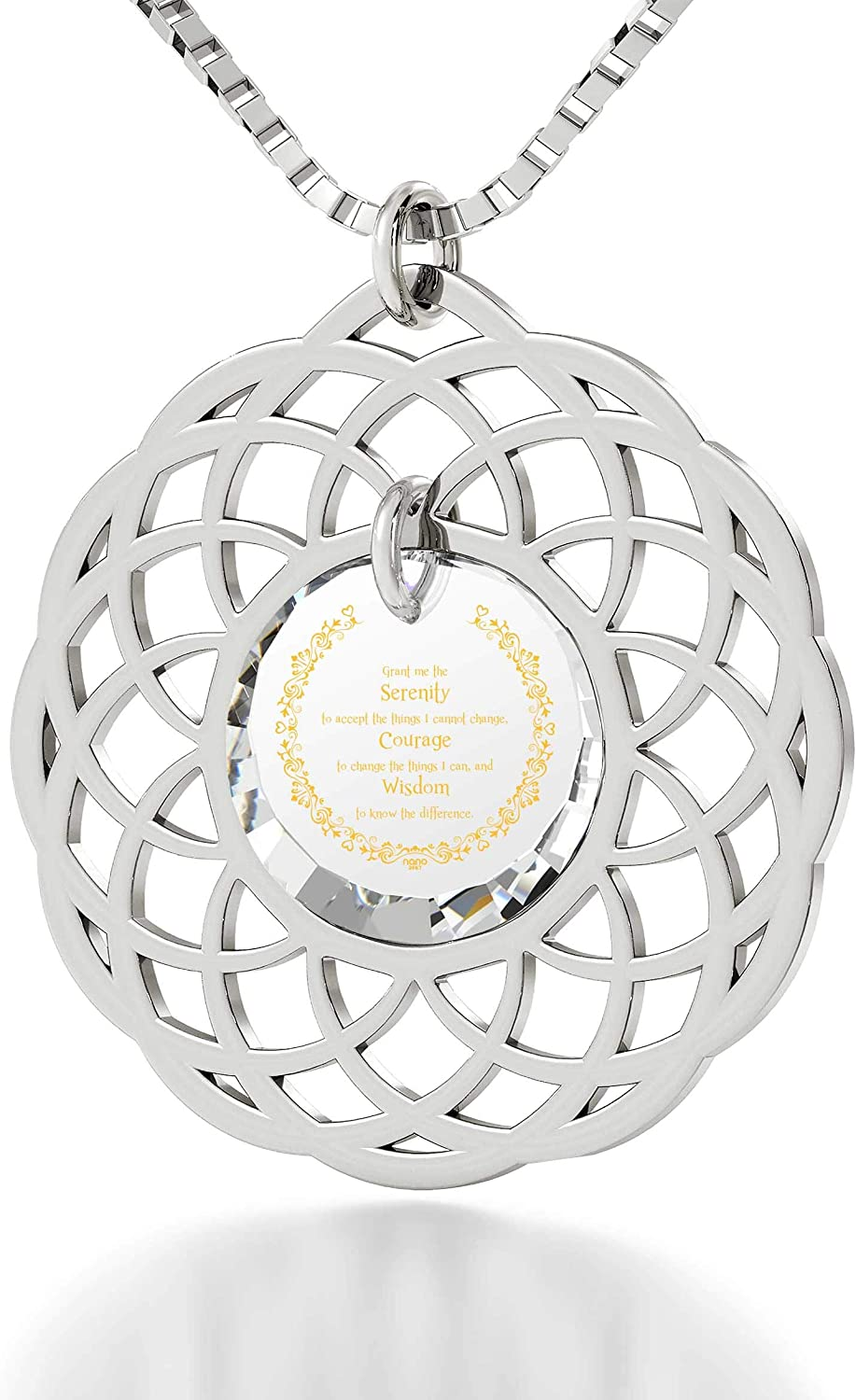 925 Sterling Silver Serenity Prayer Necklace Mandala Pendant Inscribed in 24k Gold on Cubic Zirconia, 18
