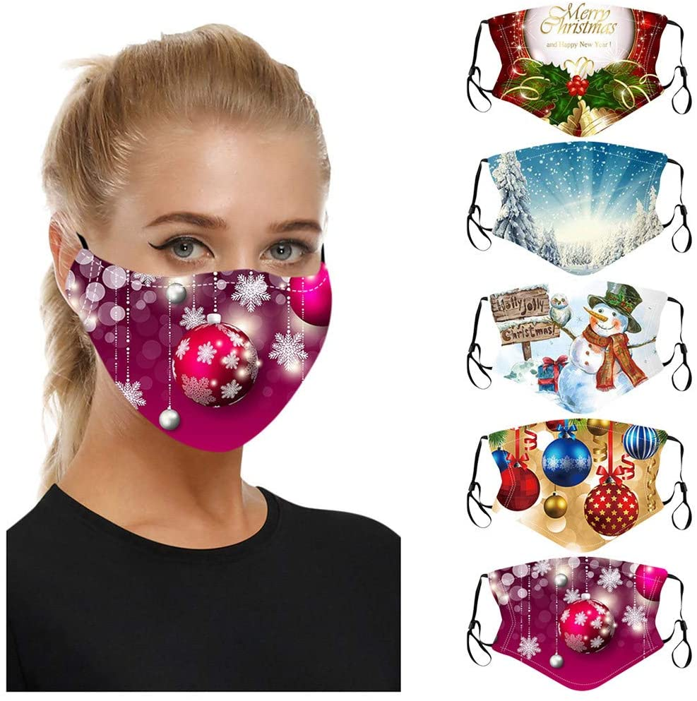 vividen 【USA in Stock 】 5Pcs Christmas Print Mouth_Face_Mask for Women Men Reusable Washable Breathable Anti Dust Haze Fog Full Face Protection Face Bandanas_Mask with Adjustable Earloop