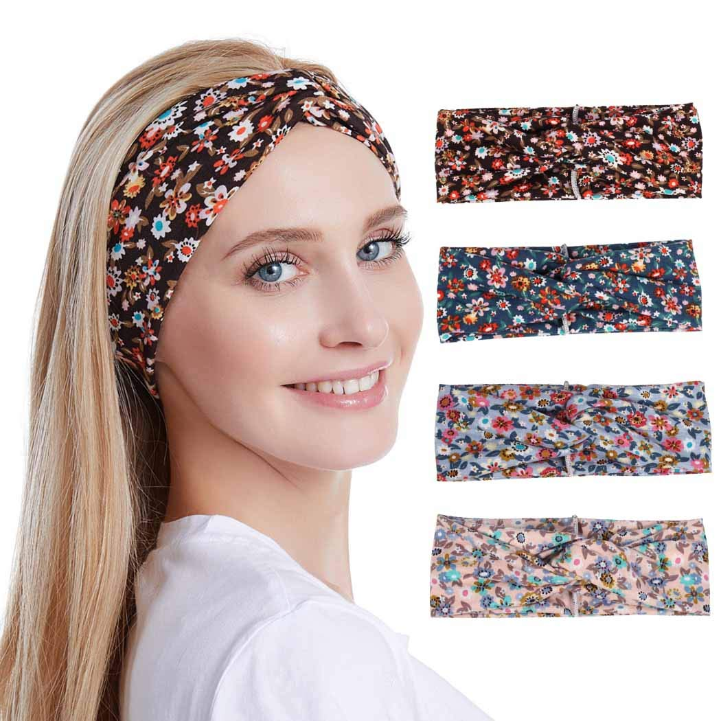 Adflyco Boho Floral Cross Headbands Set Yoga Criss Hair Bands Workout Stretch Fabric Head Wraps for Women and Girls (4PCS)