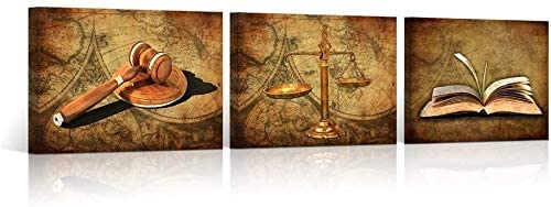 HOMEOART Scales of Justice Legal Pictures Lawyer Office Decor Law Themed Painting Canvas Giclee Printings Stretched Framed Easy To Hang 16
