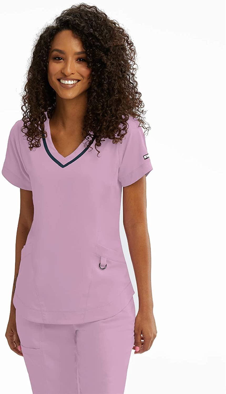 BARCO Grey's Anatomy Impact 7187 Women's Harmony Three Pocket Seamed V-Neck Scrub Top Rose Chiffon M