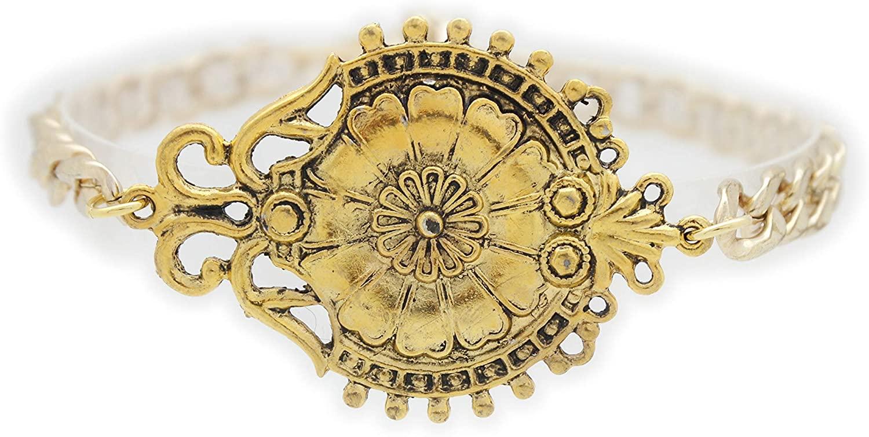 TFJ Women Jewelry Boot Bracelet Bling Flower Victorian Style Pendant Metal Chain Shoe Charm