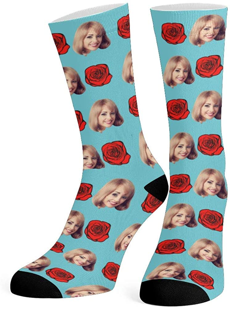 Custom Face Socks with Photo Red Rose Personalized Novelty Socks for Men Women