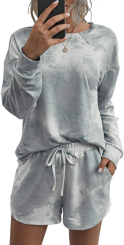 Murimia Women Pajamas Set Tie Dye Print Long Sleeve Shirt Elastic Shorts Sleepwear Loungewear Nightwear