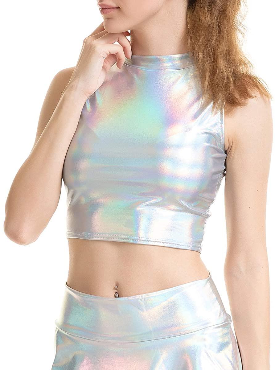 Naimo Women's Metallic Sleeveless Rave Dance Crop Tube Top Bra