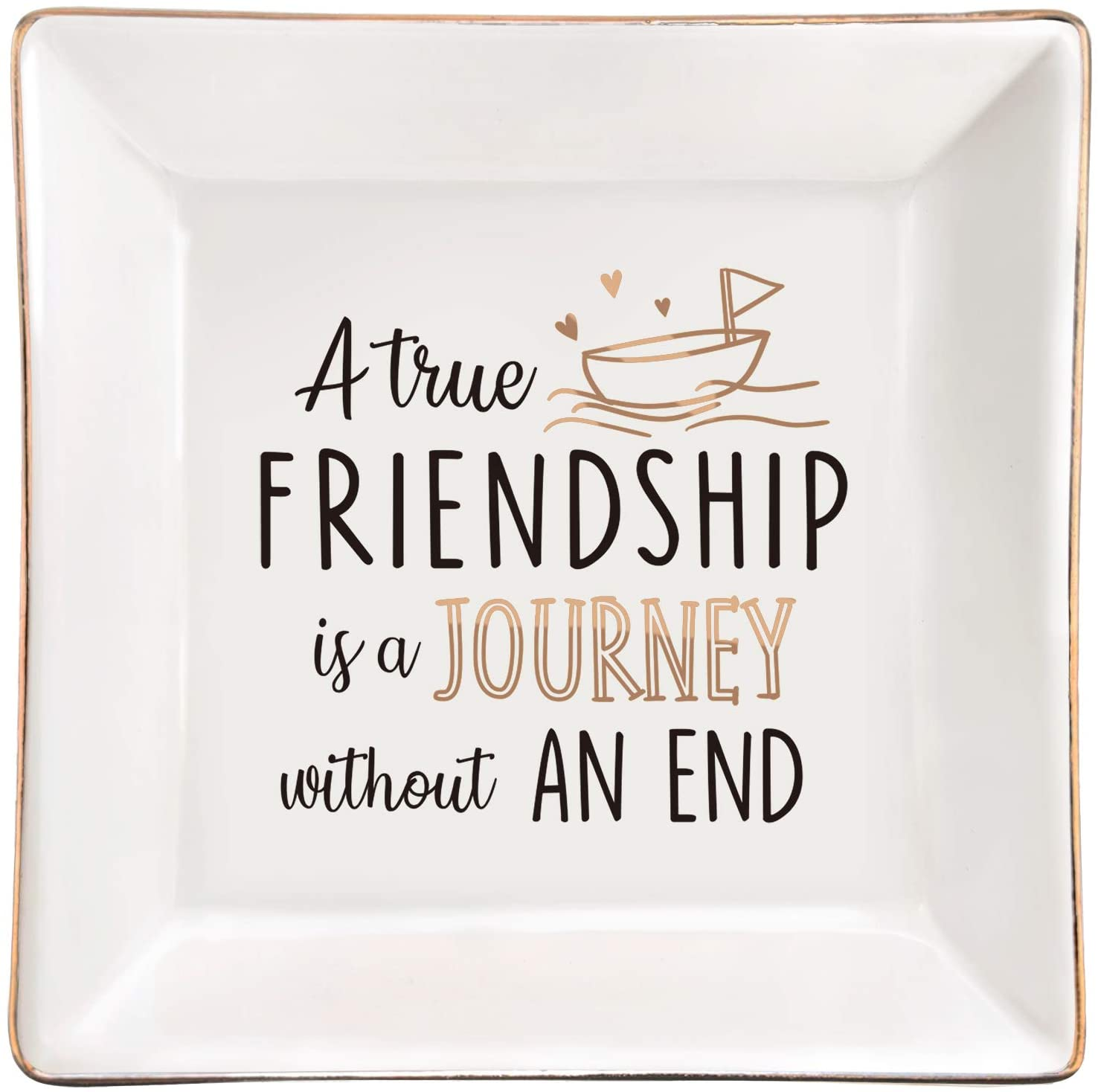 ElegantPark Friendship Gifts for Women Long Distance Friend Gifts Ceramic Jewelry Dish Friends Gifts Christmas Birthday Gifts for Friends Square Decorative Ring Dish