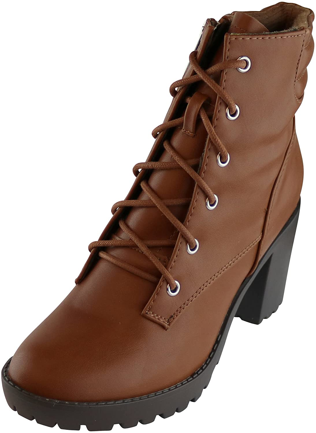 Cambridge Select Women's Closed Round Toe Lace-up Padded Collar Lug Sole Chunky Block Heel Ankle Bootie