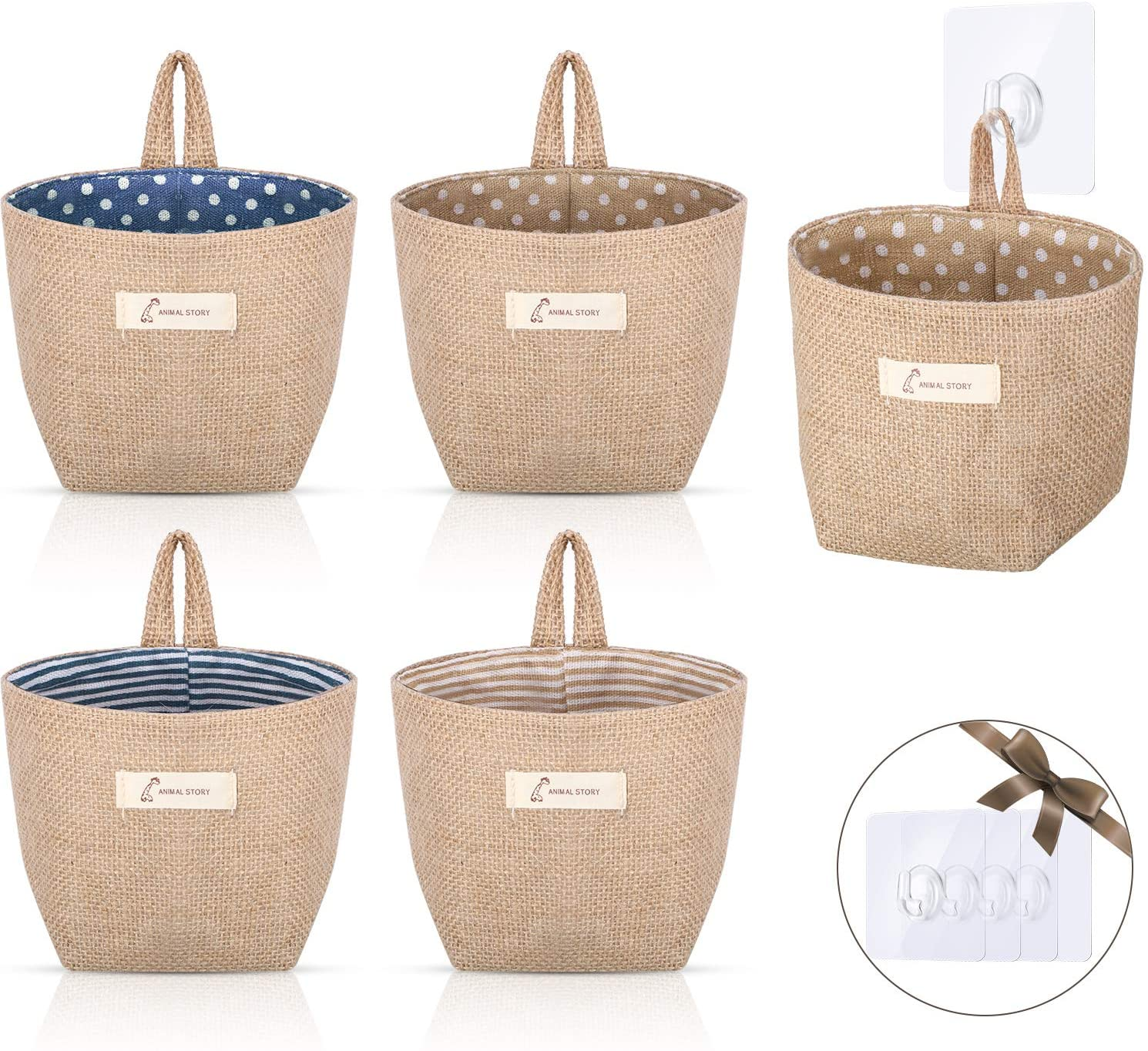 5 Pieces Wall Hanging Storage Bags Foldable Storage Basket Bag Linen Storage Basket with 5 Pieces Seamless Adhesive Hooks for Home Office Wall Closet Organizing and Decorating