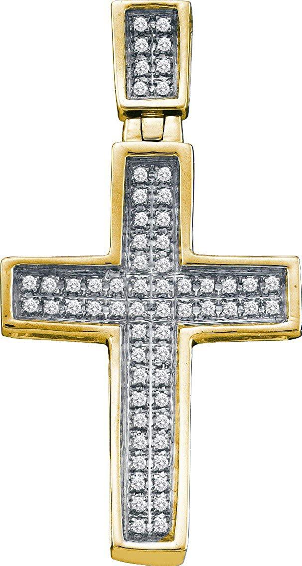 10K Yellow Gold Mens Diamond Small Christian Cross Necklace Pendant 1/6 Ctw.