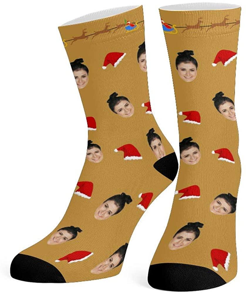 Custom Face Socks with Photo Personalized Print Merry Christmas Crew Socks for Men Women