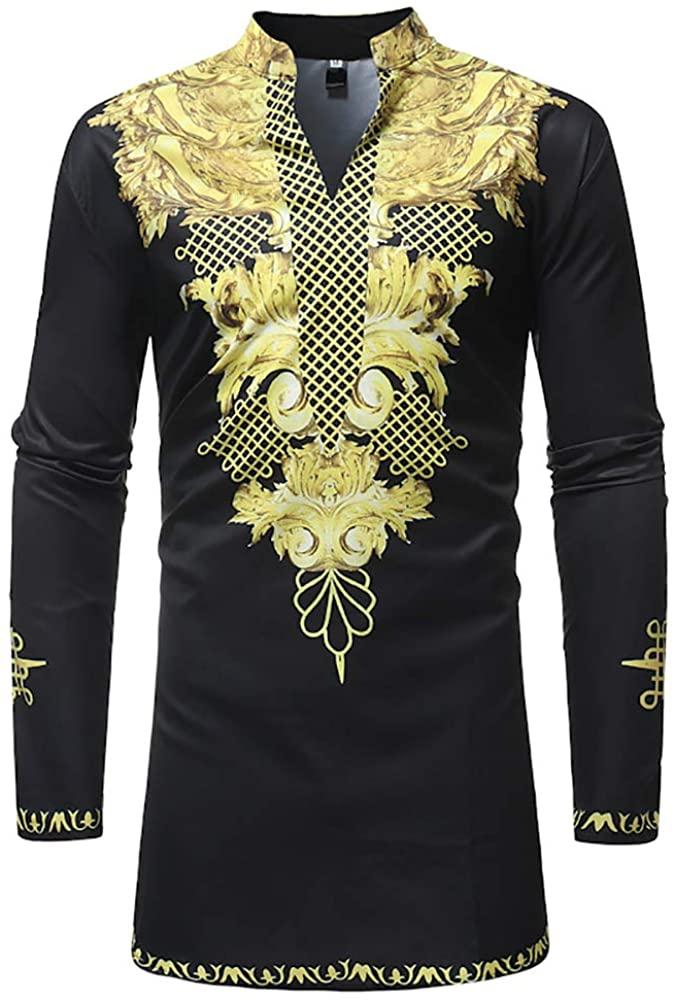 HaoDong Mens Dashiki Shirt Tribal African Shirts - Fashion V Neck Long Sleeve Tops Blouse