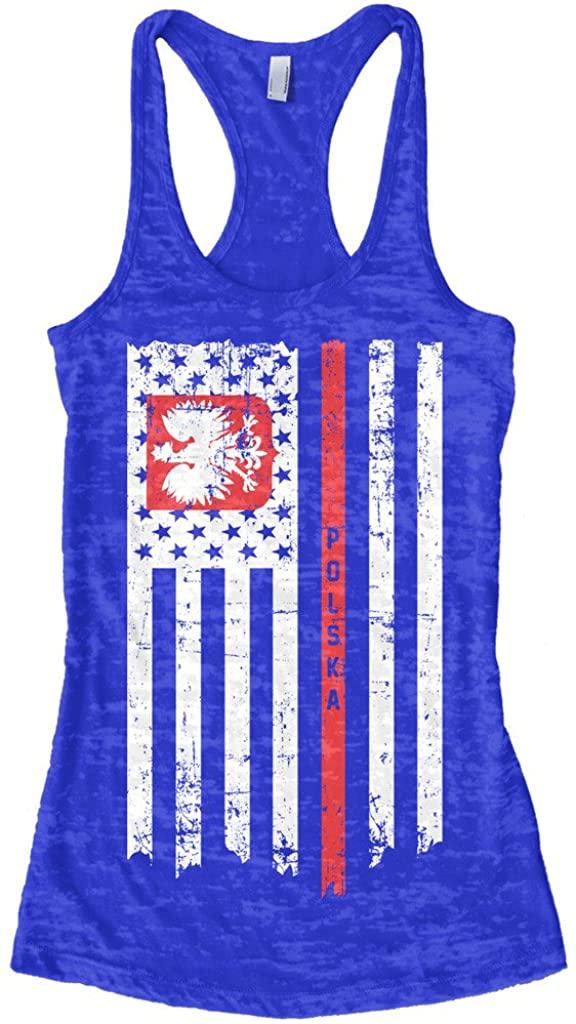Threadrock Women's Poland USA Polish American Flag Burnout Racerback Tank Top