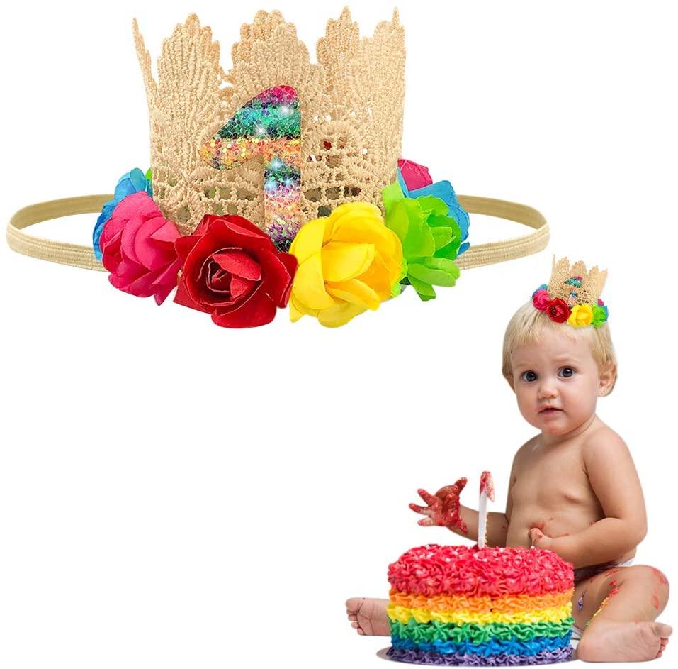 Mexican Fiesta 1st Birthday Crown, Rainbow Flower Lace Crown, Mexican Fiesta Flower Crown 1st Birthday Baby Mexican Flower Crown Headband Taco Party Crown Decorations