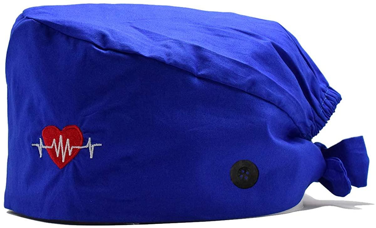 Pama Cotton Long Hair Cap with Sweatband Button Working Hats for Women Men