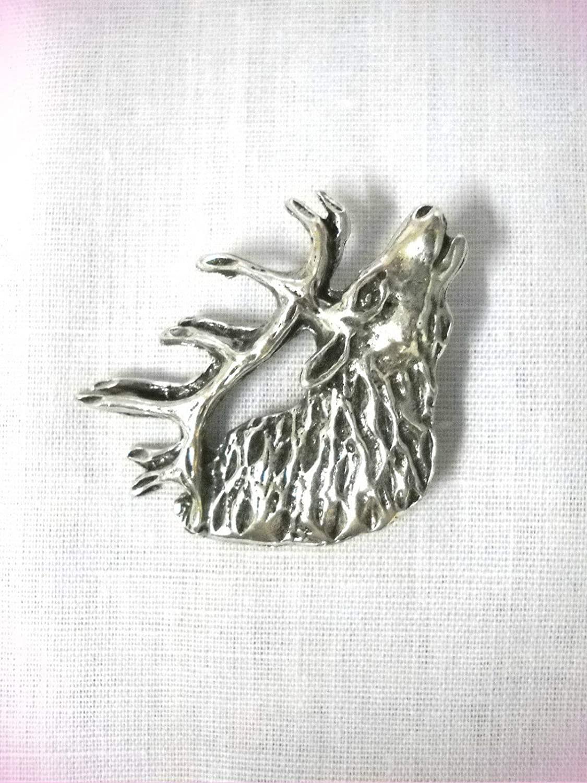 Trophy Buck Bull Elk Head Profile Bust W Antlers Silver Pendant Necklace For Women