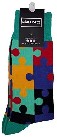 Soxcessful Dress Novelty Autism Socks For Men & Women (Unisex) - Crew Soft Cotton Crazy Fun Funky Patterned Colorful Fashion Wacky Premium - Best for Birthday Gift, Travel & Camping - Size 7-13