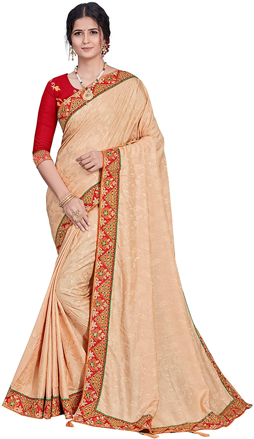 Women's Wear Indian Traditional Wedding Wear Embroidery Saree with Unstich Blouse Piece Pari 1