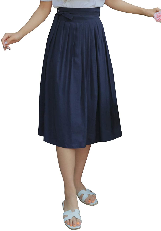 TETEROT SALON Women's Wrap Skirt Hanbok Korean Vintage Party Midi Viscos Rayon Skirts