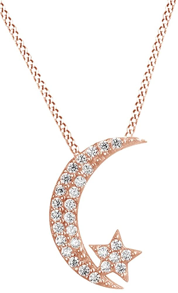 AFFY Crescent Moon Star White Cubic Zirconia Pendant Necklace in 14K Gold Over Sterling Silver