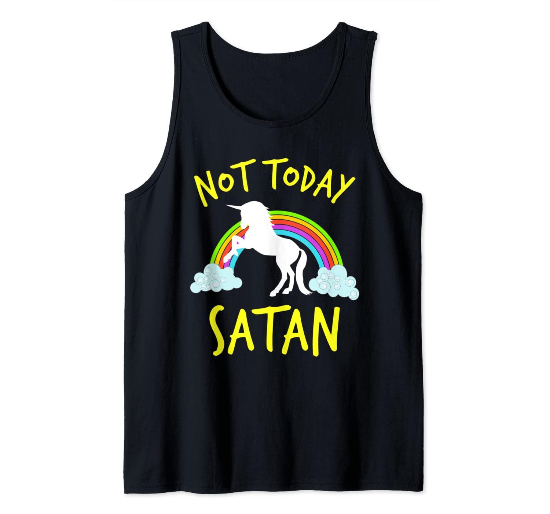 Funny Not Today Satan Rainbow Unicorn Christian VBS Gift Tank Top