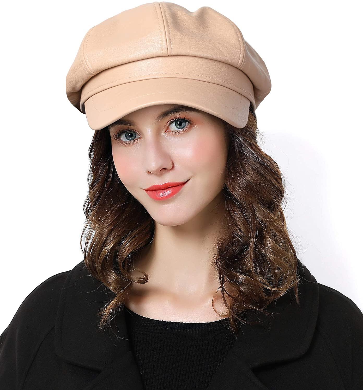 Sumolux Women Beret Newsboy Hat French PU Cap Classic Autumn Spring Winter