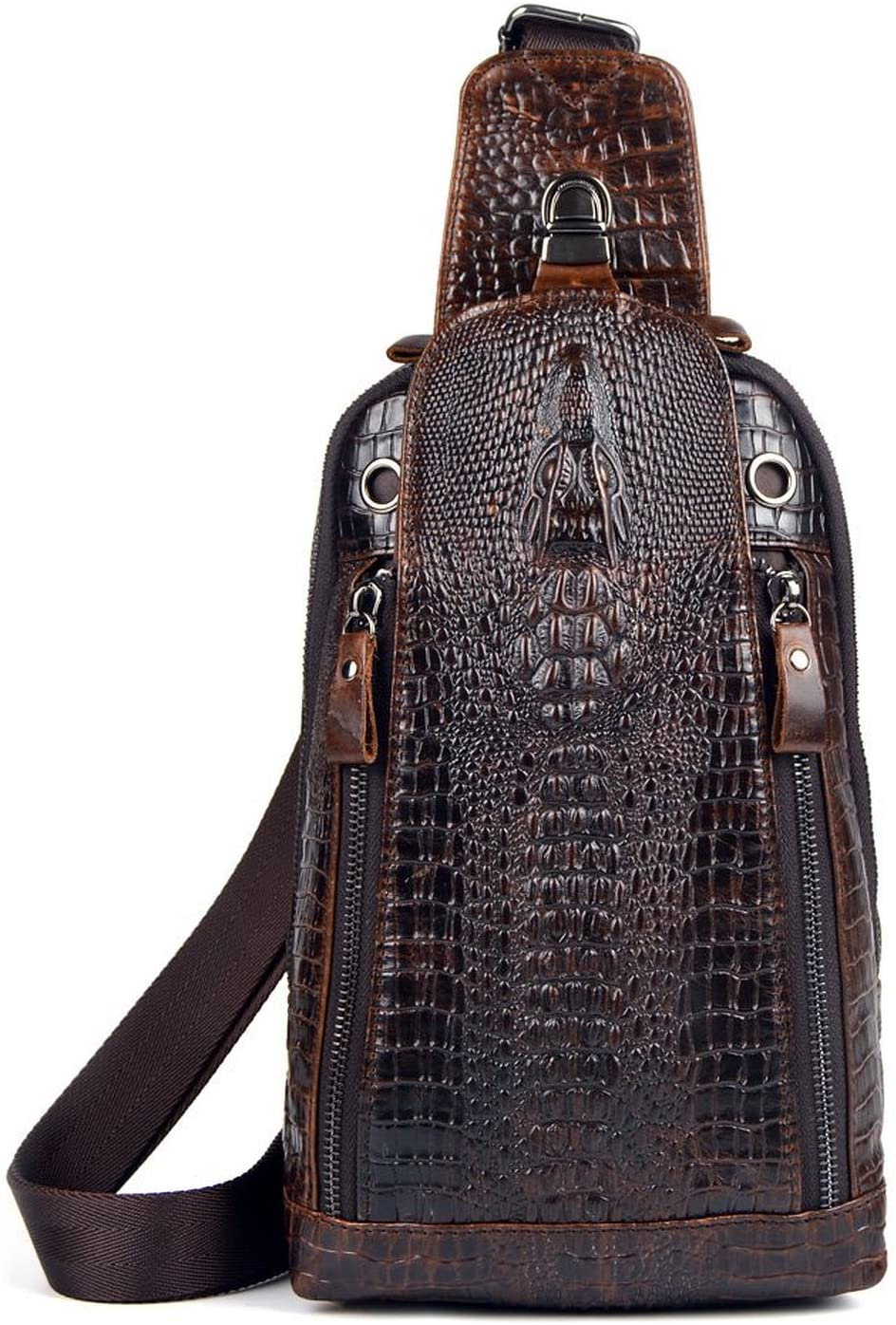 Sunmig Men's Crocodile Genuine Leather Crossbody Chest Bag Hiking Sling Daypack