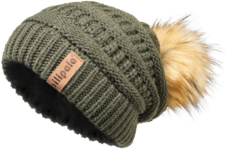 Pilipala Womens Winter Knit Beanie Hat Slouchy Warm Pom Pom Hat Faux Fur Caps for Women Ladies Girls