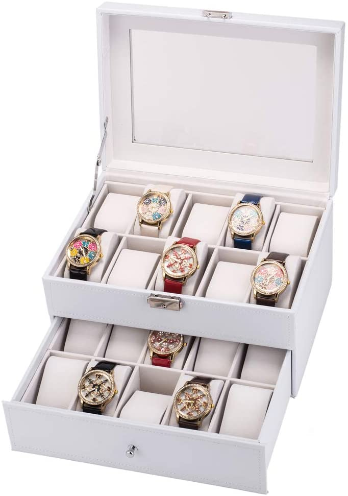 Alivinghome 20 Slot Luxury High-Grade Leather Design Watch Box for Men with Removable Pillow Watch Jewelry Display Organizer Storage Case Box has Large Glass Top with Lock and Keys (White)