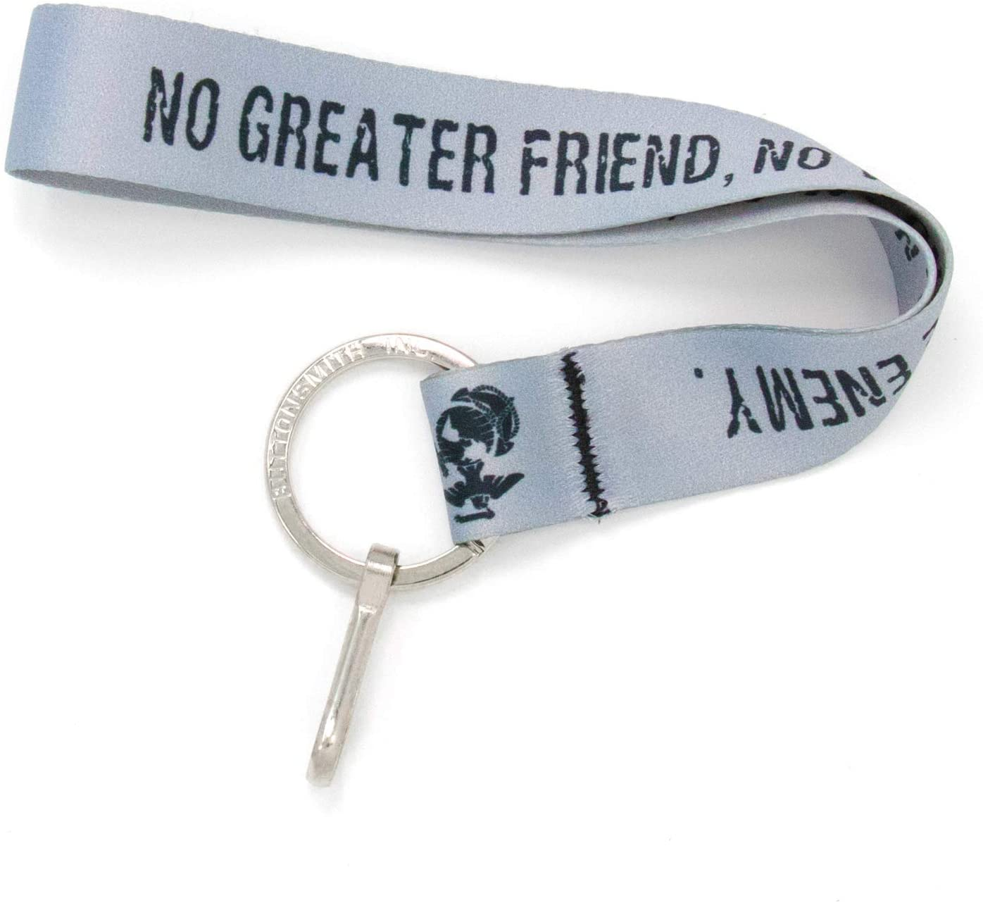 Buttonsmith No Greater Friend Grey Wristlet Key Chain Lanyard - Short Length with Flat Key Ring and Clip - Made in The USA