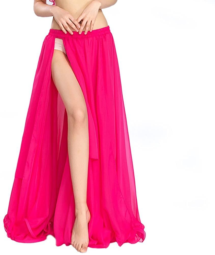 ROYAL SMEELA Belly Dance Costume for Women Chiffon Belly Dancing Skirt Bellydance Tribal Full Skirt Side Slit Practice Outfit