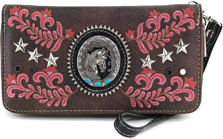 Zelris West Horse Portrait Star Floral Women Wrist Handle Bifold Zipper Wallet