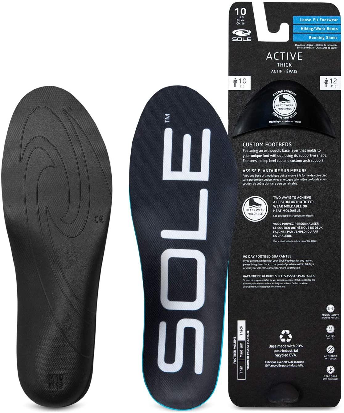 SOLE Active Thick Shoe Insoles - Men's Size 8/Women's Size 10