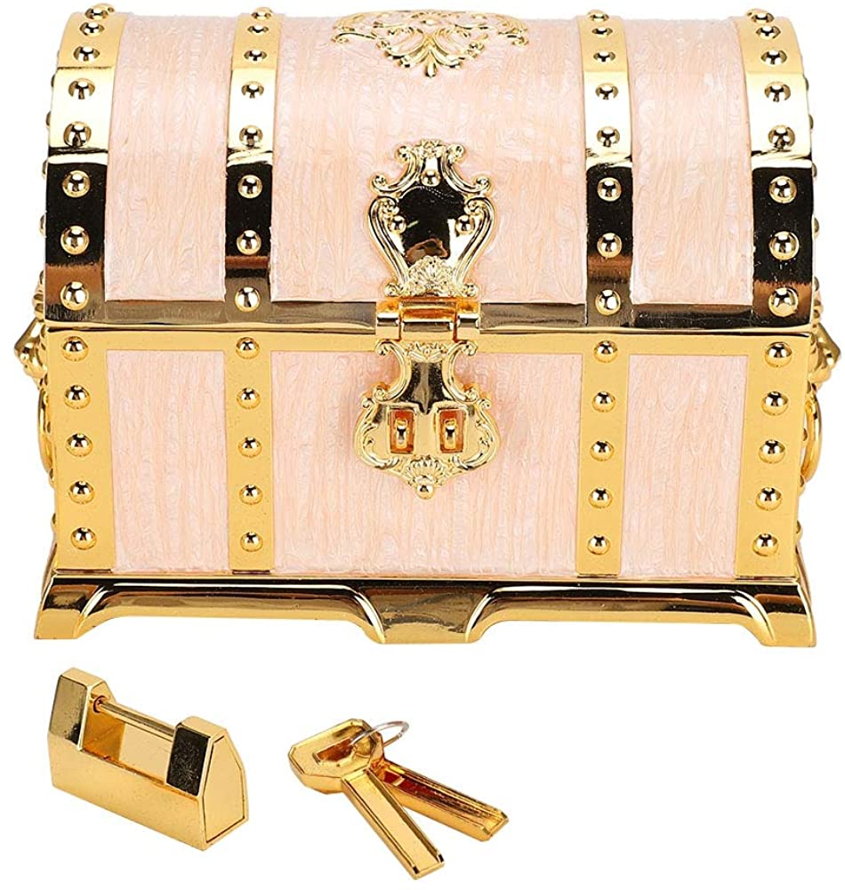 Qkiss Vintage Embossment Necklace Storage Earring Container Box Jewelry Holder with Lock
