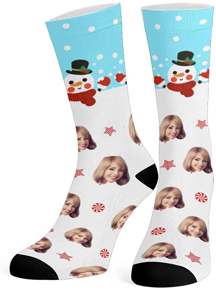 Personalized Face Socks with Photo Custom Print Merry Christmas Crew Socks for Men Women