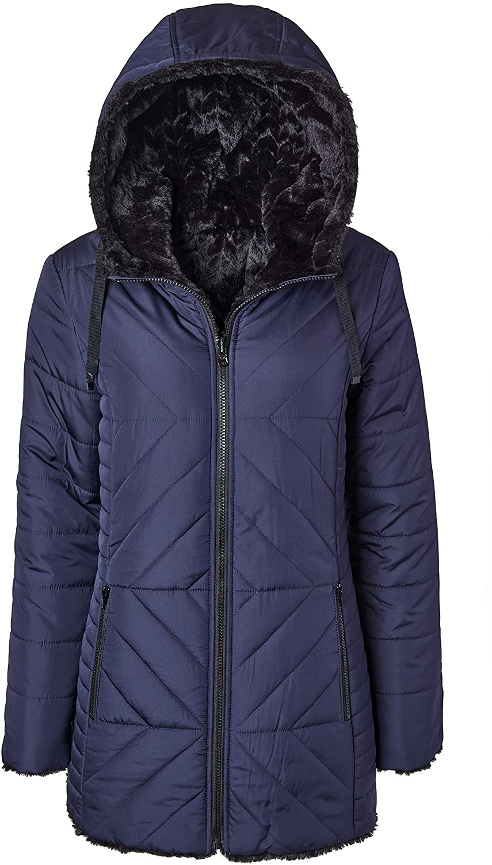 Women Hooded Puffer Jacket Reversible to Black Chevron Faux Fur Winter Coats