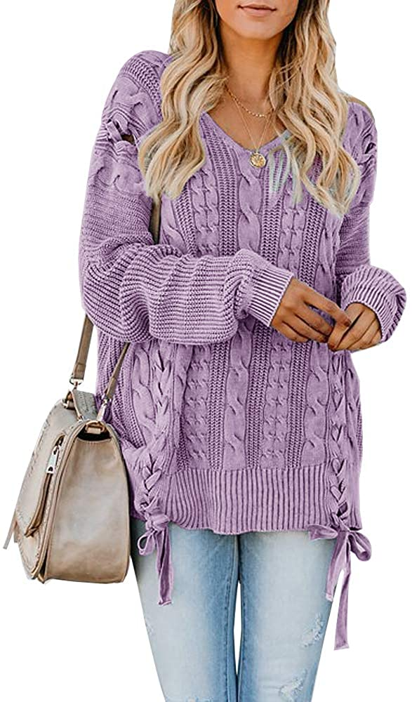 Hestenve Womens Oversized Pullover Sweaters Cable Knit V Neck Lace Up Chunky Tops