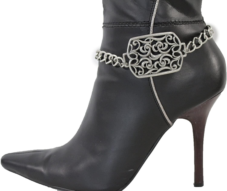 TFJ Women Jewelry Boot Bracelet Floral Square Metal Chain Heels Shoe Ethinic Charm Silver