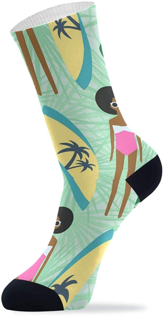 Causal Dress Socks for Mens Women Cute African American Girl Novelty Crew Socks High Ankle Crew Soft 2 Packs