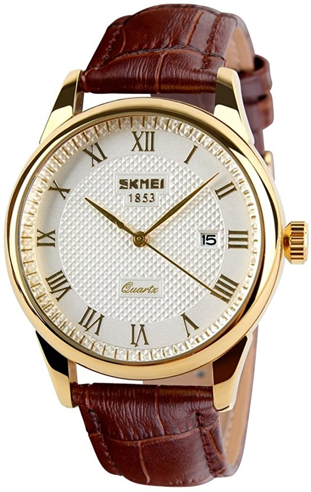 TONSHEN Unisex Fashion Analog Quartz Watch Luxurious White Roman Numeral Dial Gold Stainless Steel Case Brown Leather Band Calendar Date Window 12H Time Classic Casual Business Watches for Men Women