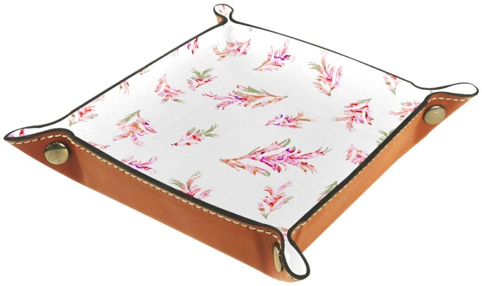 AISSO Valet Tray Retro Flowers Floral Printing Leather Jewelry Trays Organizer Box for Wallets, Watches, Keys, Coins, Cell Phones and Office Equipment