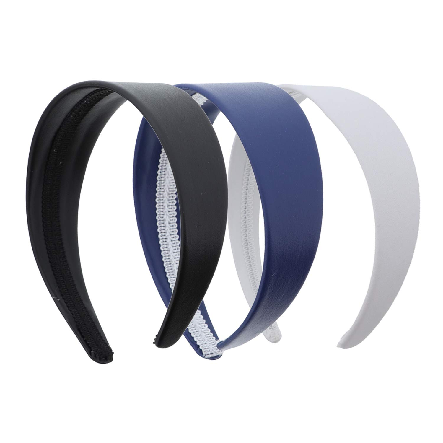 2 Inch Wide Leather Like Headband Solid Hair band 3 Pack (Navy, Black & White)