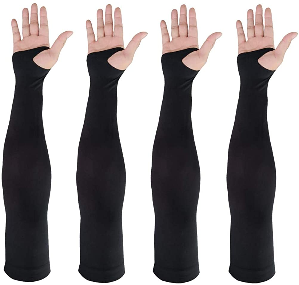 Arm Sleeves UV Sun Protection,2 Pairs Cooling Arm Sleeves Cover for Women and Men, Sun Sleeves Cover with Thumb Hole for Biking, Gardening, Driving, Fishing, Golf, Hiking